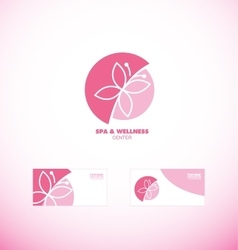 Spa wellness beauty butterfly logo icon vector image