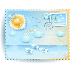 Summer postcard with sun and sea in vintage style vector