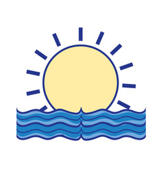 sun with water flood natural disaster vector image