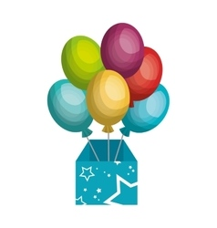 Surprice box with balloons party vector
