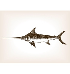 Swordfish hand drawn sketch vector