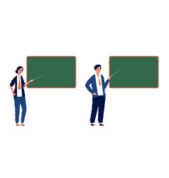 teachers at blackboard male female professors vector image