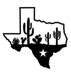 texas map silhouette and cactuses desert black vector image