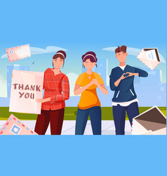 Thank you flat background vector