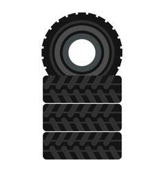 Tire pile icon flat style vector