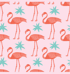 tropical flamingos and flowers seamless vector image