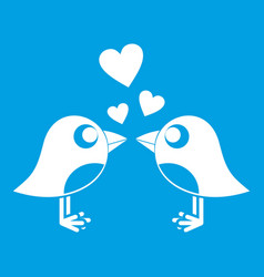 Two birds with hearts icon white vector