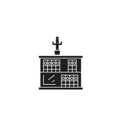 two shelves bookcase black concept icon vector image