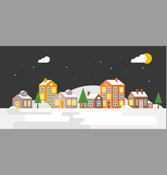village with snow falling urban landscape for use vector image