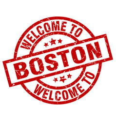 welcome to boston red stamp vector image