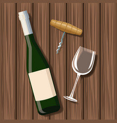 wine bottle and cup over wooden background vector image
