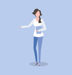 woman with folder in hands isolated on blue vector image