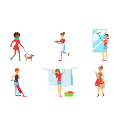 Women cleaning home and doing housework set vector
