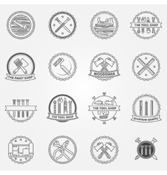 Work tools badges or labelseps vector