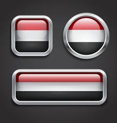 Yemen flag glass buttons vector image