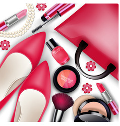 sets of cosmetics on isolated background vector image vector image