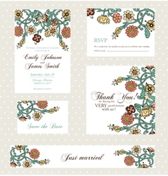 Wedding invitation set with vintage flowers vector image vector image