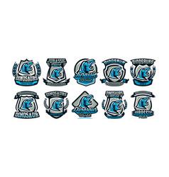 a set of logos emblems of the dinosaur jurassic vector image