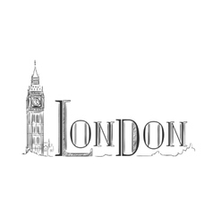 London lettering with the Big Ben vector image vector image