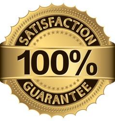 100 percent satisfaction guarantee golden sign wit vector image vector image
