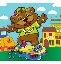 Bear skateboarder on a colored background vector image vector image