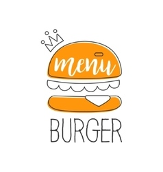 Orange burger with crown premium quality fast food vector