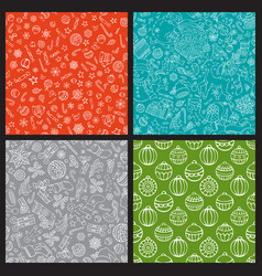 set of doodles merry christmas seamless patterns vector image