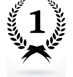 Black silhouette winner icon or number 1 sign with vector image