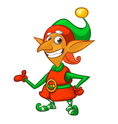cute cartoon little boy santa helper elf vector image