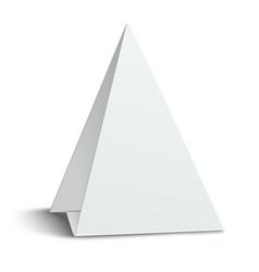 three-cornered triangular blank paper table card vector image