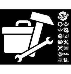 Toolbox Icon with Tools Bonus vector image