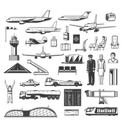 airport equipment airlines and aviation icons vector image