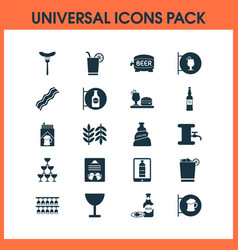 alcohol icons set with beer tower sausage vector image