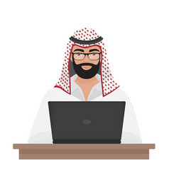 Arab muslim businessman or programmer working with vector