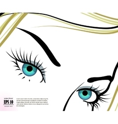 beautiful blue eyes with long eyelashes vector image