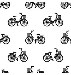 Bike with basket seamless pattern vector