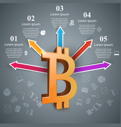bitcoin five items paper infographic vector image