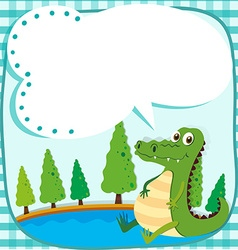 Border design with crocodile and pond vector image