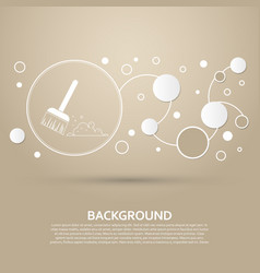 broom icon on a brown background with elegant vector image