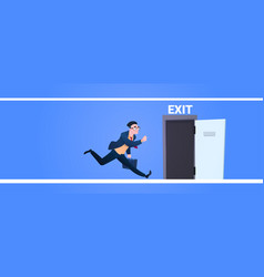 businessman run to open exit door man running from vector image