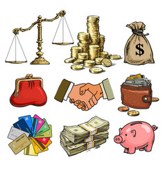 cartoon business finance money set scales stack vector image