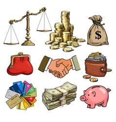 Cartoon business finance money set scales stack vector
