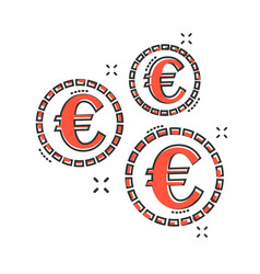 cartoon euro coins icon in comic style money coin vector image