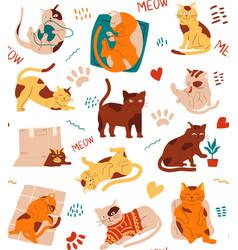 cat pattern seamless texture kittens cartoon vector image