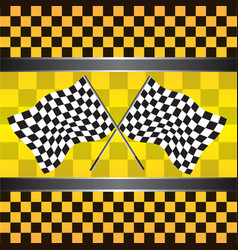 Checkered flag on yellow background vector