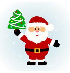 christmas card santa santa with christmas tree vector image