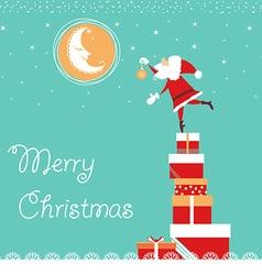 Christmas card with Santa and nice moon blue card vector