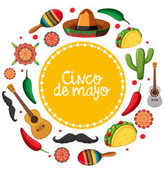 Cinco de mayo card template with mexican musical vector