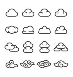 Cloud line icon set vector
