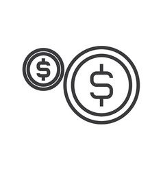 Coins usd line icon sign on vector